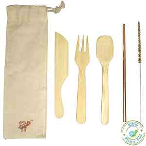 Reusable Bamboo Cutlery Kit With Copper Straw