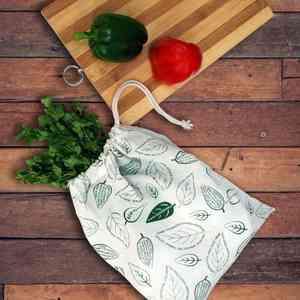 Cotton Leafy Print Storage Bags for Fridge