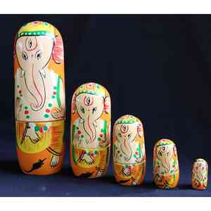 Wooden Stacking Dolls Created by Rural Artisans - Ganesh