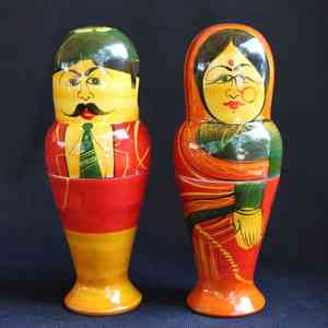 Wooden Stacking Dolls Created by Rural Artisans - Male & Female
