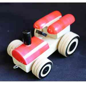 Wooden Pull Along Red Tractor Toy Created by Rural Artisans