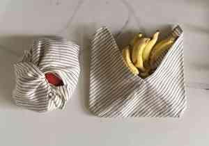 Organic Kala Cotton Black & White Tanuka Bento Bag