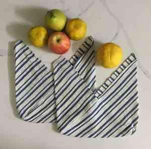 Organic Kala Cotton Blue & White Tanuka Bento Bag