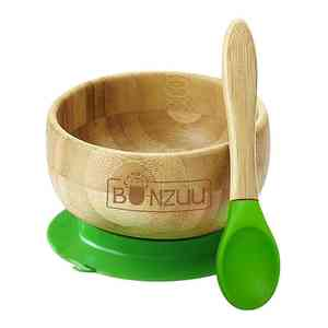 Bamboo Green Spill-Safe Baby Bowl & Silicone Spoon Set