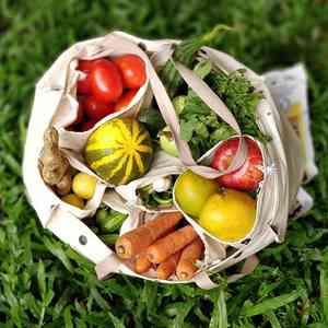 Silver Fir Veggie-To-Fridgie Bag with 8 Detachable Pockets