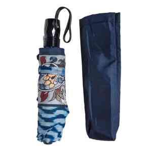 Blue Ikkat Three Fold Umbrella