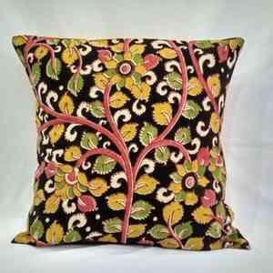 Small Black & Yellow Block Printed Cushion Cover