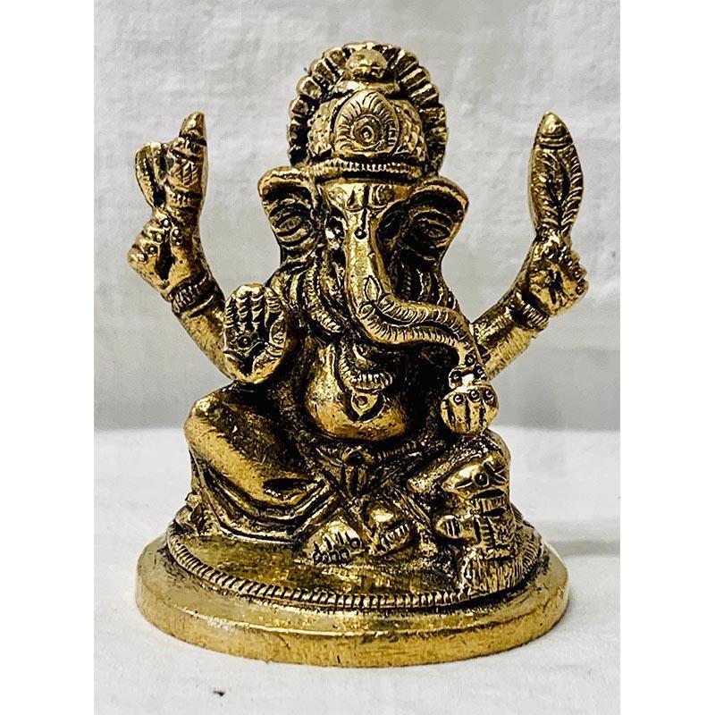 Seated Ganesh Brass Idol