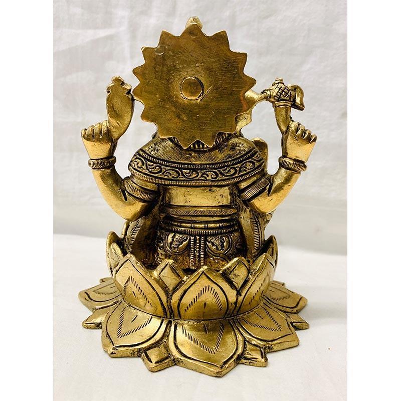 Ganesh on Lotus Brass Idol