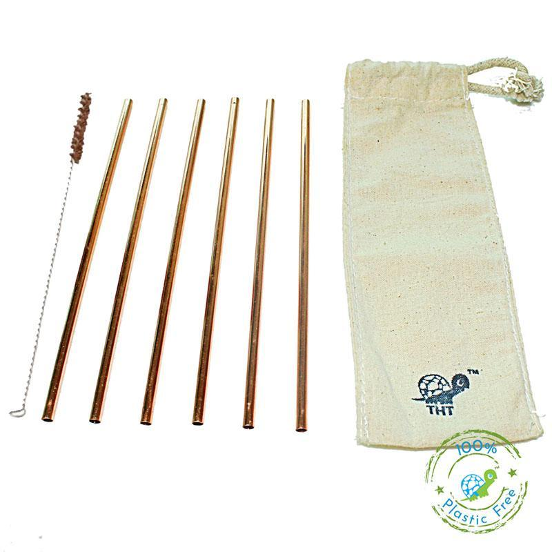 Reusable Copper Straws with Cleaner