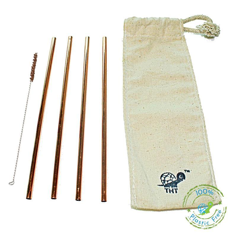 Reusable Copper Straws with Free Straw Cleaner