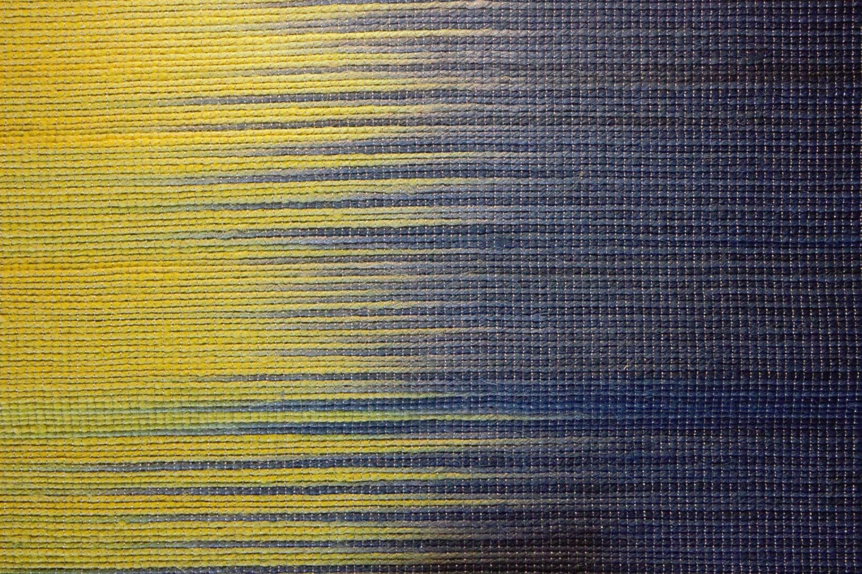 Handwoven Blue & Yellow Hibiscus Fibre Table Runner & Placemats