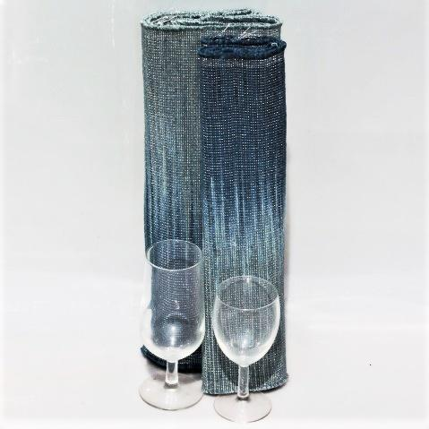Handwoven Blue & Grey Hibiscus Fibre Table Runner & Placemats