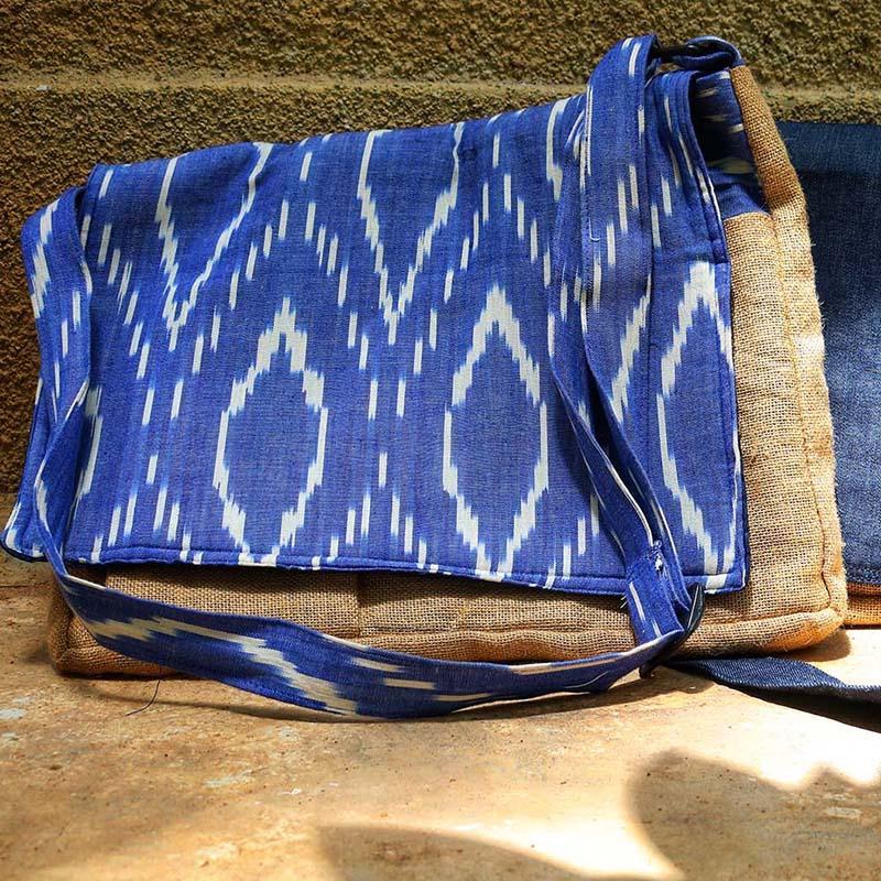 Upcycled Jute & Ikat Laptop Bag