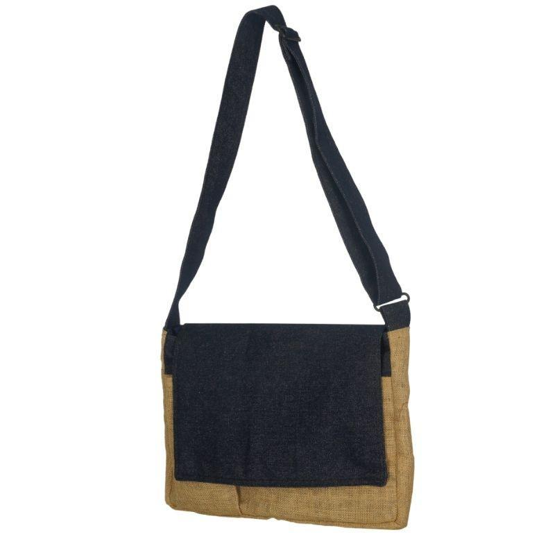 Denim & Jute Laptop Bag