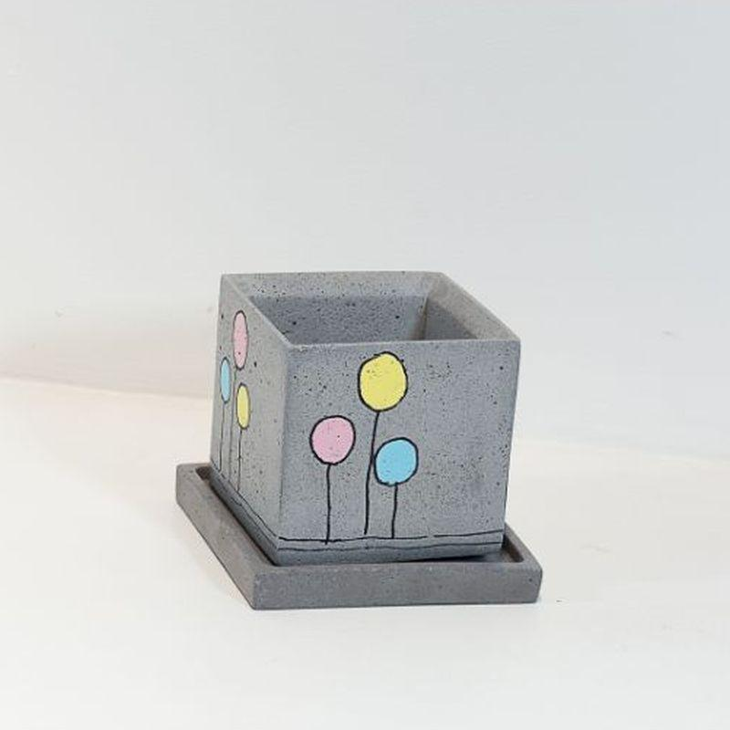 Concrete Planter with Tray