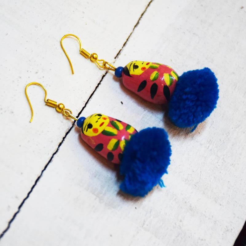Handcrafted Russian Doll Pom Pom Earrings