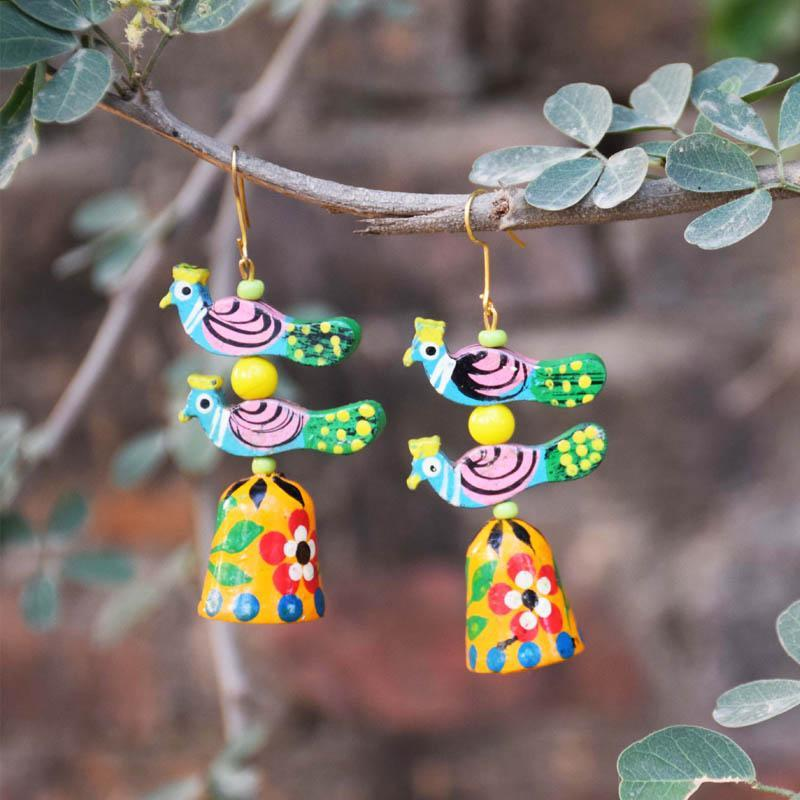 Handcrafted Mora Jhumki Earrings