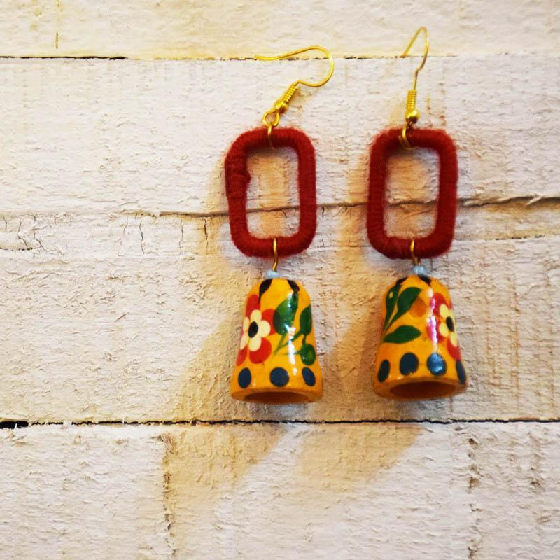 Handcrafted Yarn Painted Bell Earrings