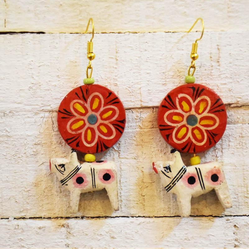 Handcrafted Lal Chakra Earrings