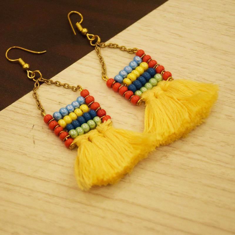 Handcrafted Beads Tassel Earrings