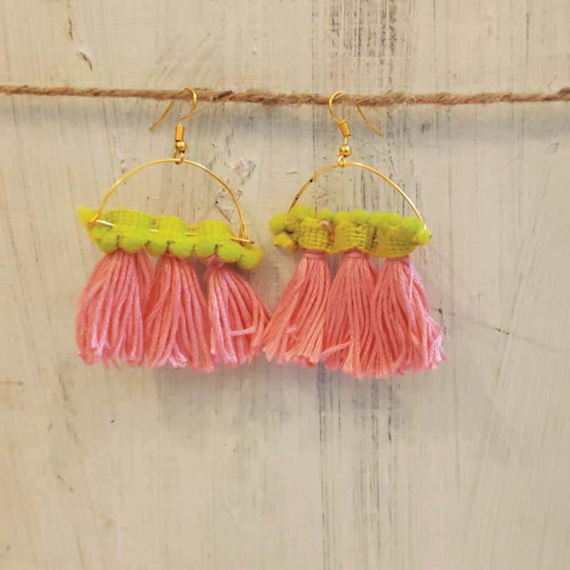 Handcrafted Lace Tassel Earrings