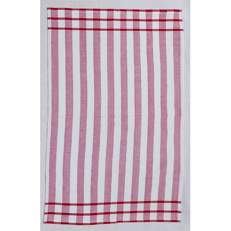 Cotton Red & White Berry Stripe Kitchen Towel