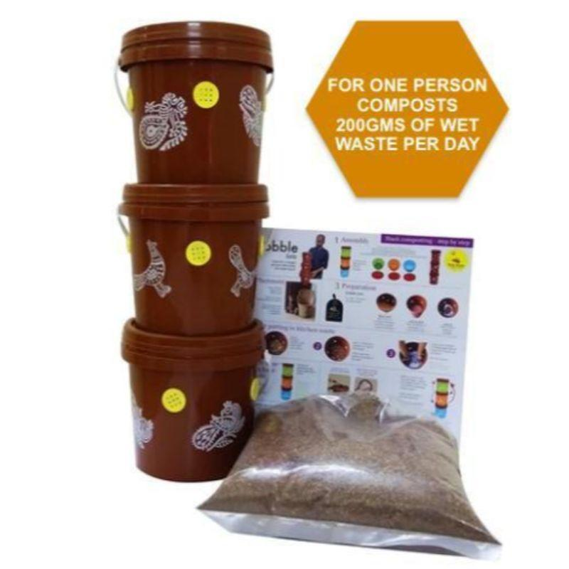 Gobble Solo 3-Tier Mini Home Composting Kit for One Person