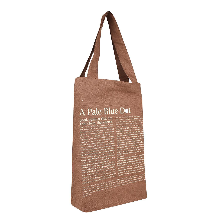 Brown Cotton Tote Pale Blue Dot Bag