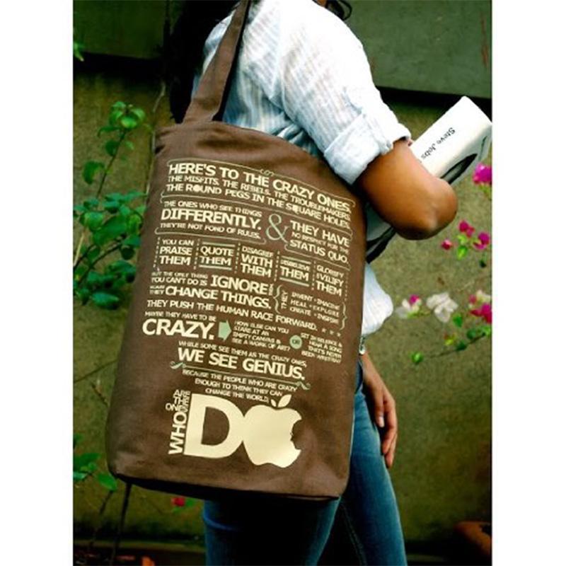 Wood Brown Cotton Tote Bag