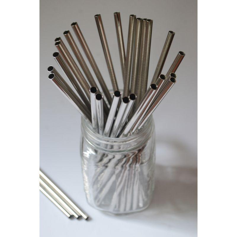 Straight Steel Straws with Cleaner