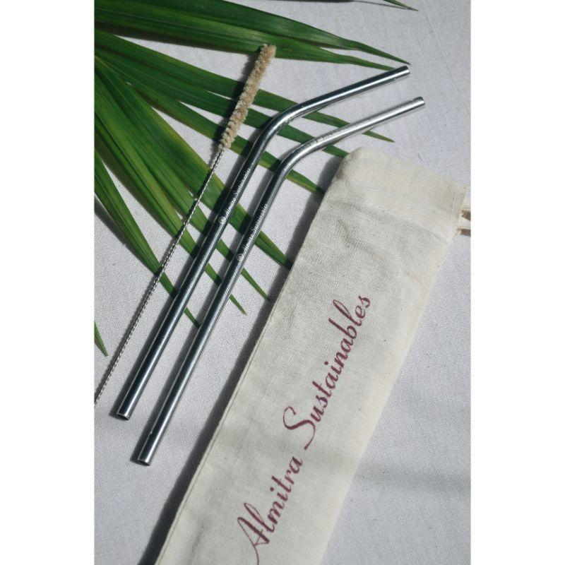 Angled Steel Straws with Cleaner