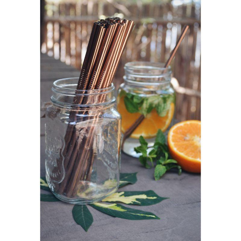 Straight Copper Straws with Cleaner