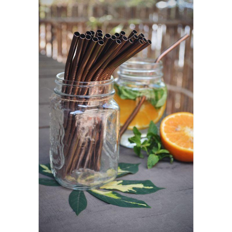Angled Copper Straws with Cleaner