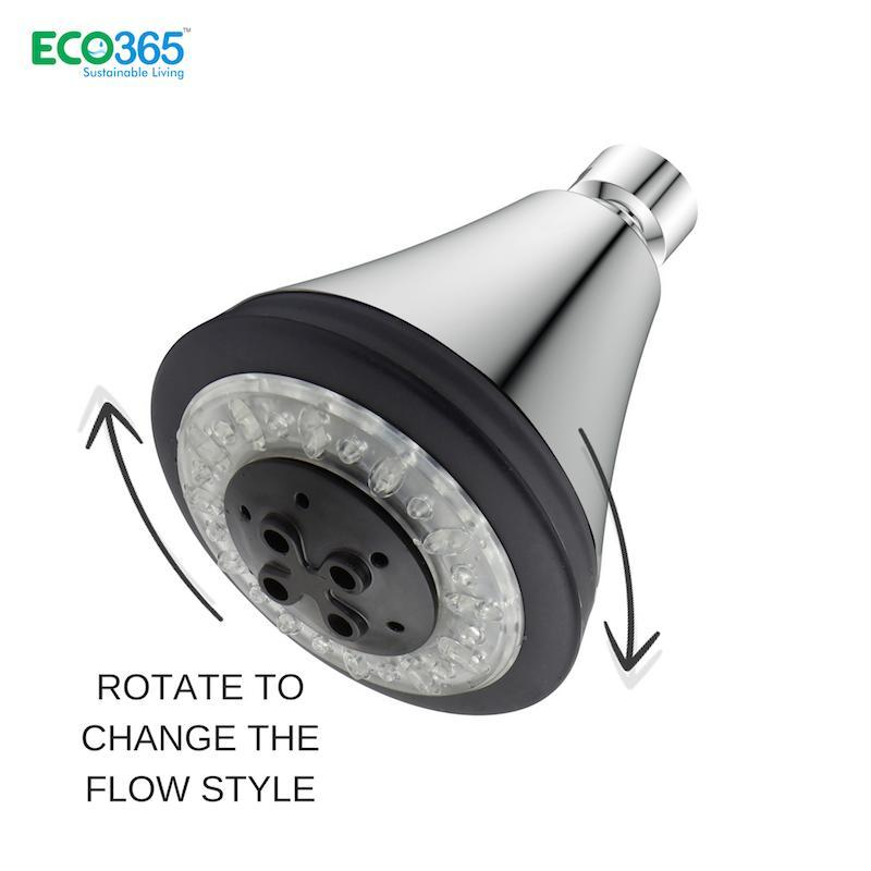 Water-Saving 3-Function Shower Head with LED Lights