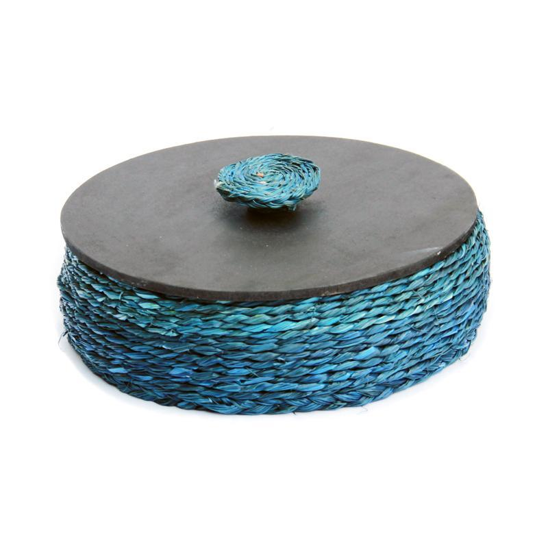 Natural Fibre Blue Roti Box with Lid