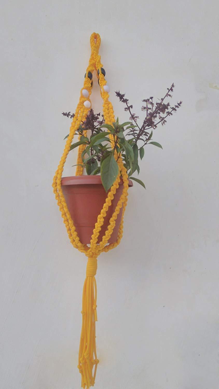 Yellow Macrame Plant Holder