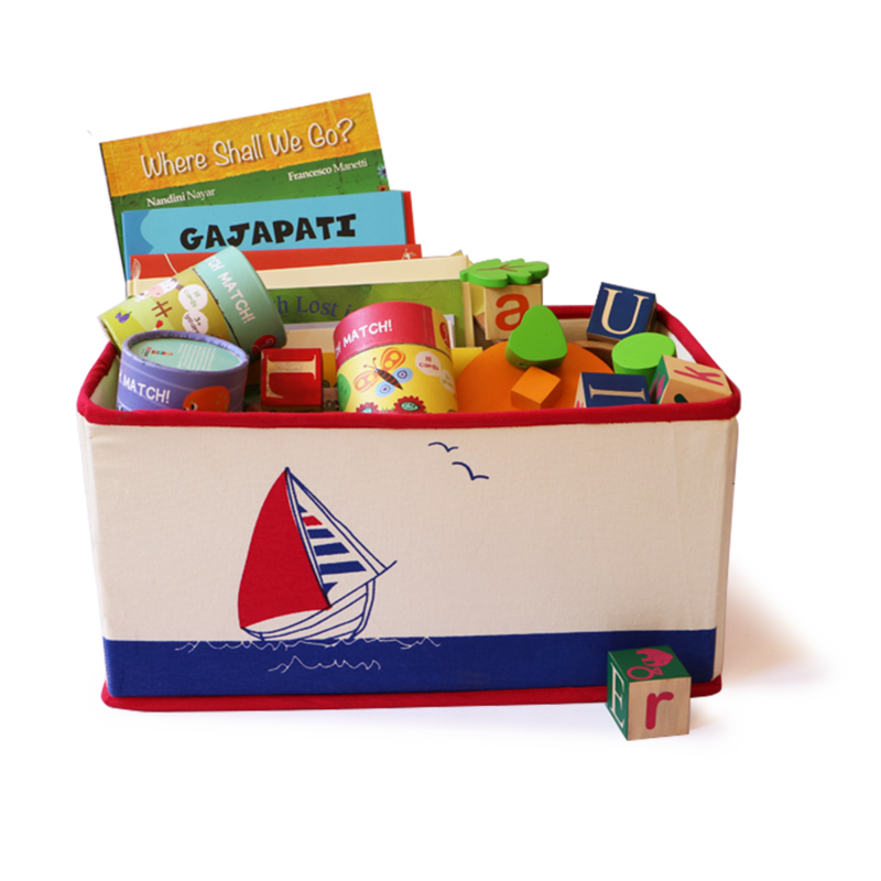 Foldable & Stackable Sailboat Saver Toy Storage Bin