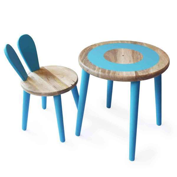 Wooden Bunny Multipurpose Kids Table & Chair Set