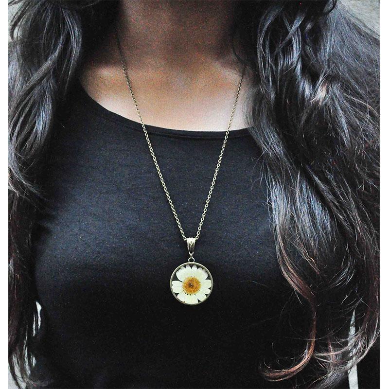 Hand Pressed Round Pendant Necklace