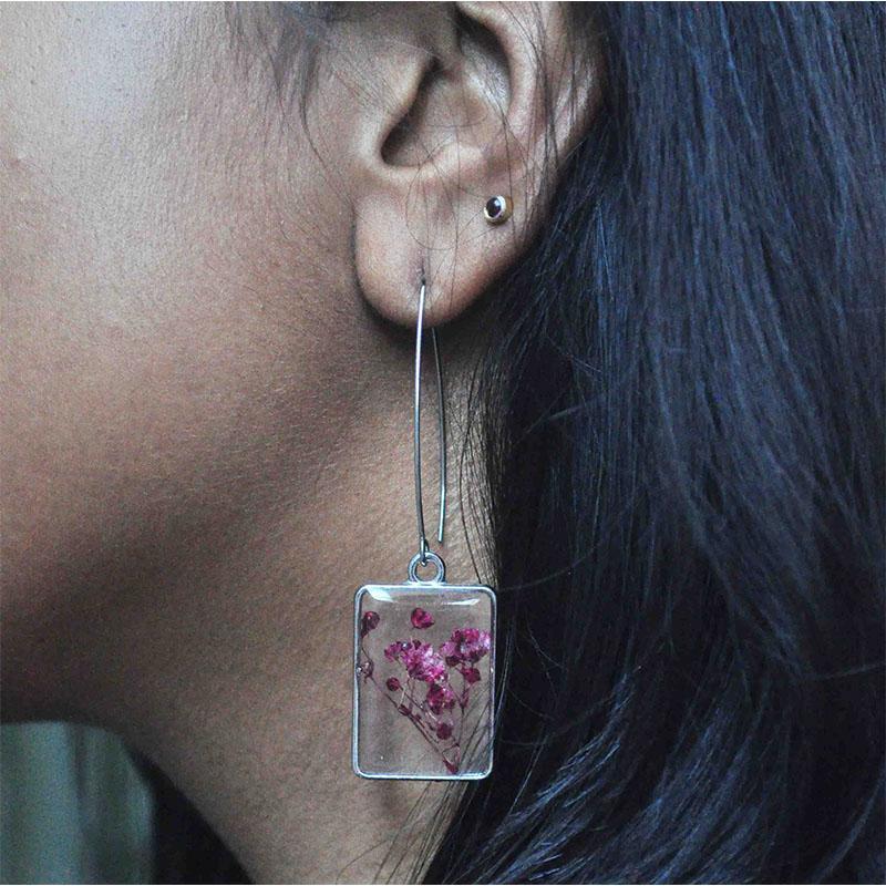 Hand Pressed Rectangular Earrings