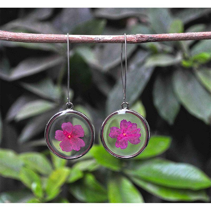 Hand Pressed Round Earrings
