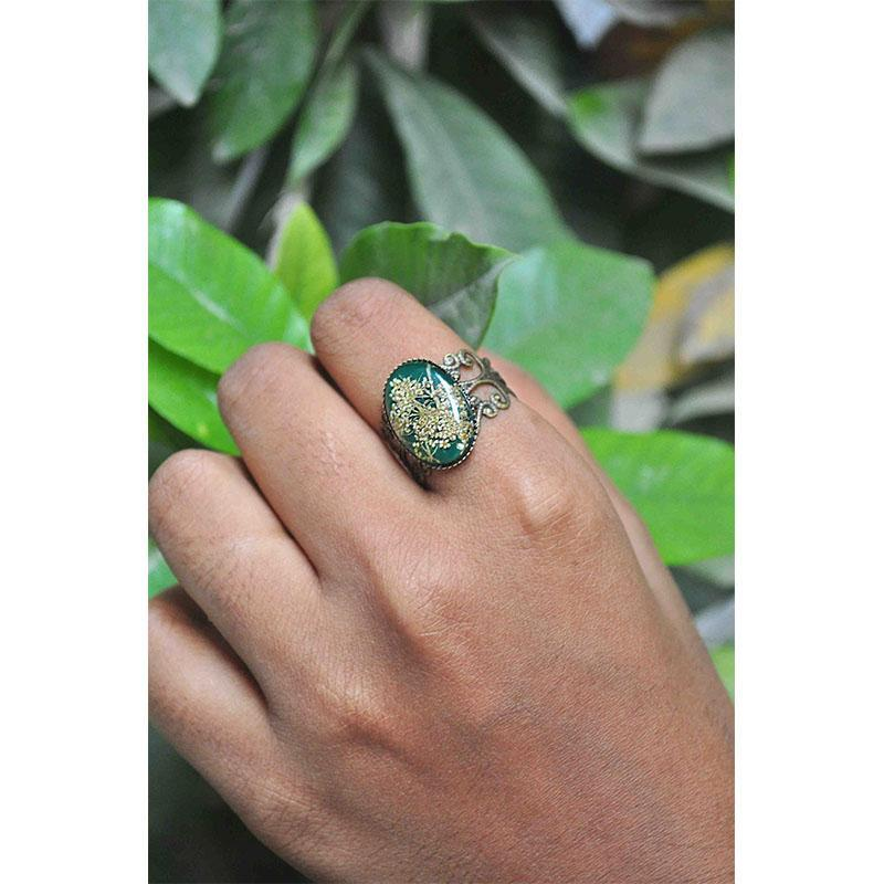 Emerald Filigree Cut Out Ring