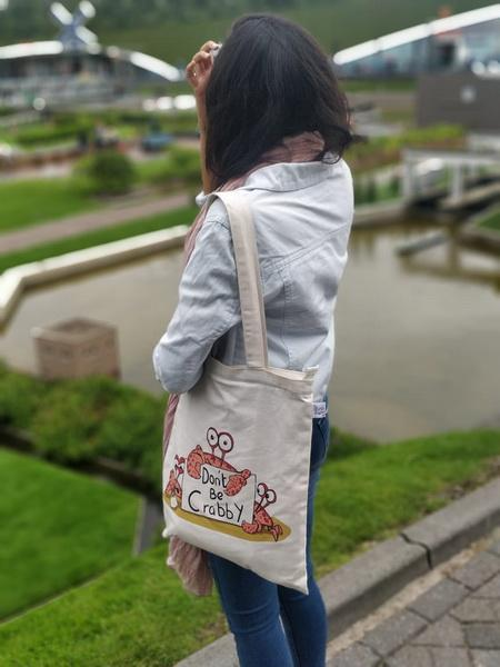 Don't Be Crabby Zippered Tote Bag