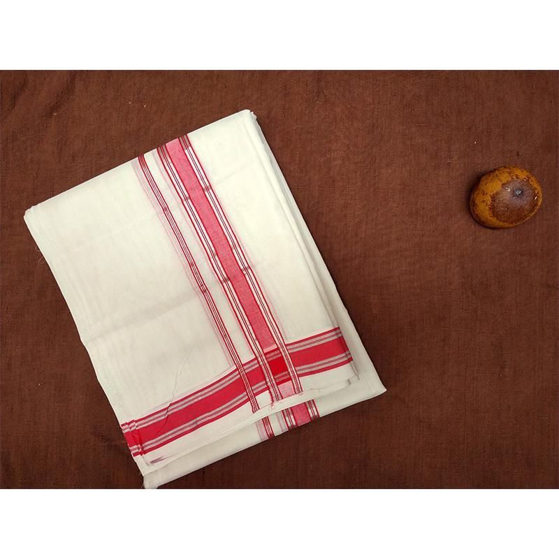 Handcrafted White Cotton Dhoti