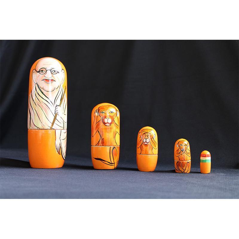Wooden Stacking Dolls Created by Rural Artisans - Gandhi