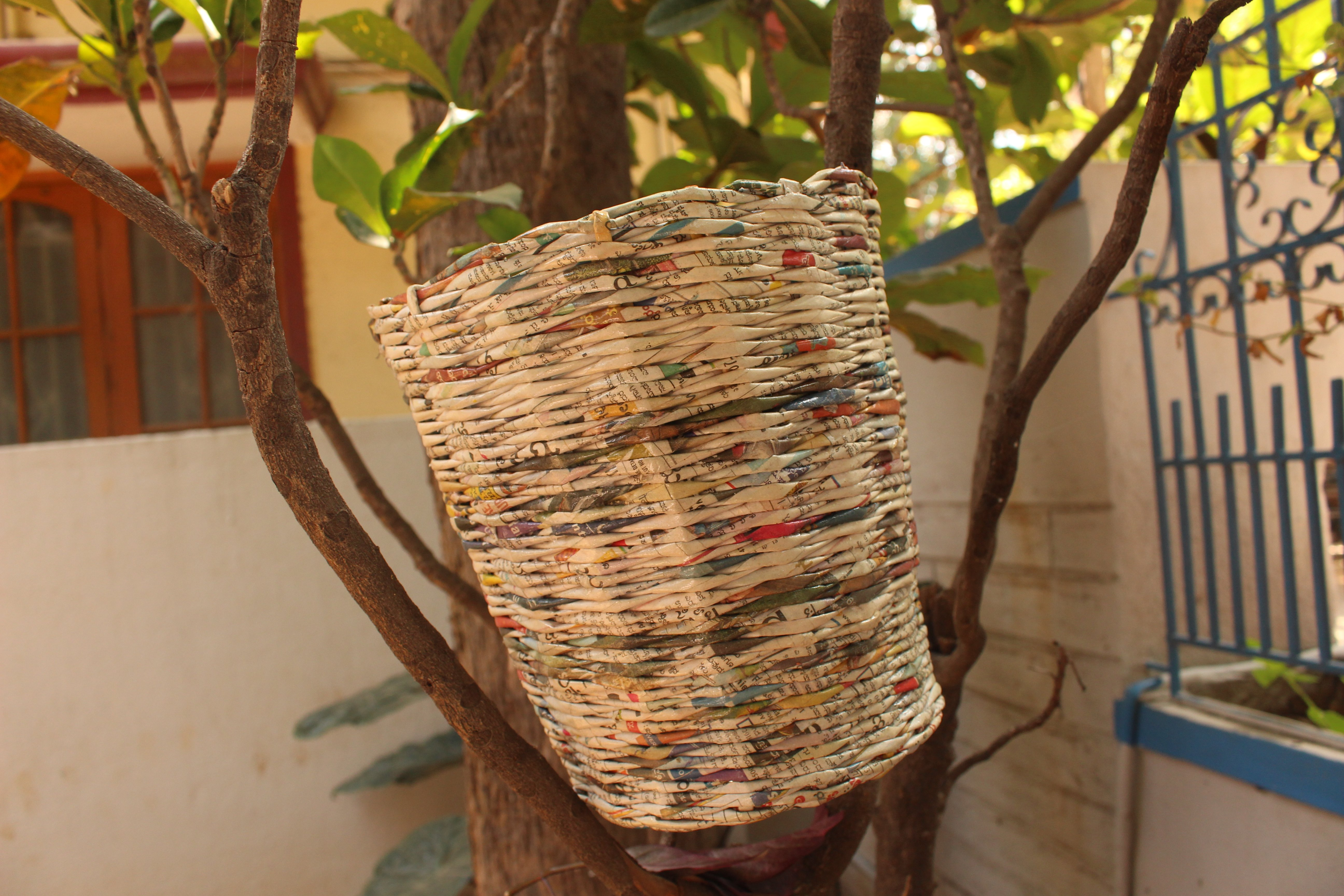 Upcycled Newspaper Dustbin
