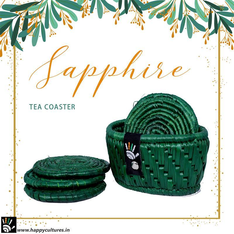 Handcrafted Natural Grass Sapphire Tea Coaster