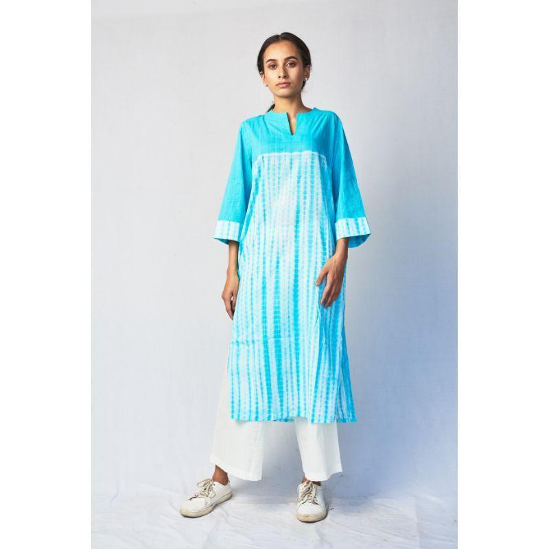 Shibori Cotton Long Kurta with Hand Embroidery - Blue