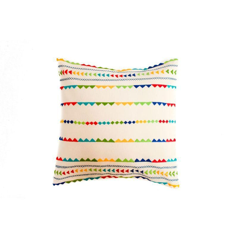 Hand Embroidered Soof on White Cotton Cushion Cover